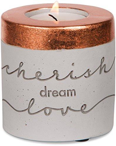 "UPC 664843421103, Pavilion Gift Company 42110 Cherish Dream Love Cement Pillar Tea Light Holder, 3"""