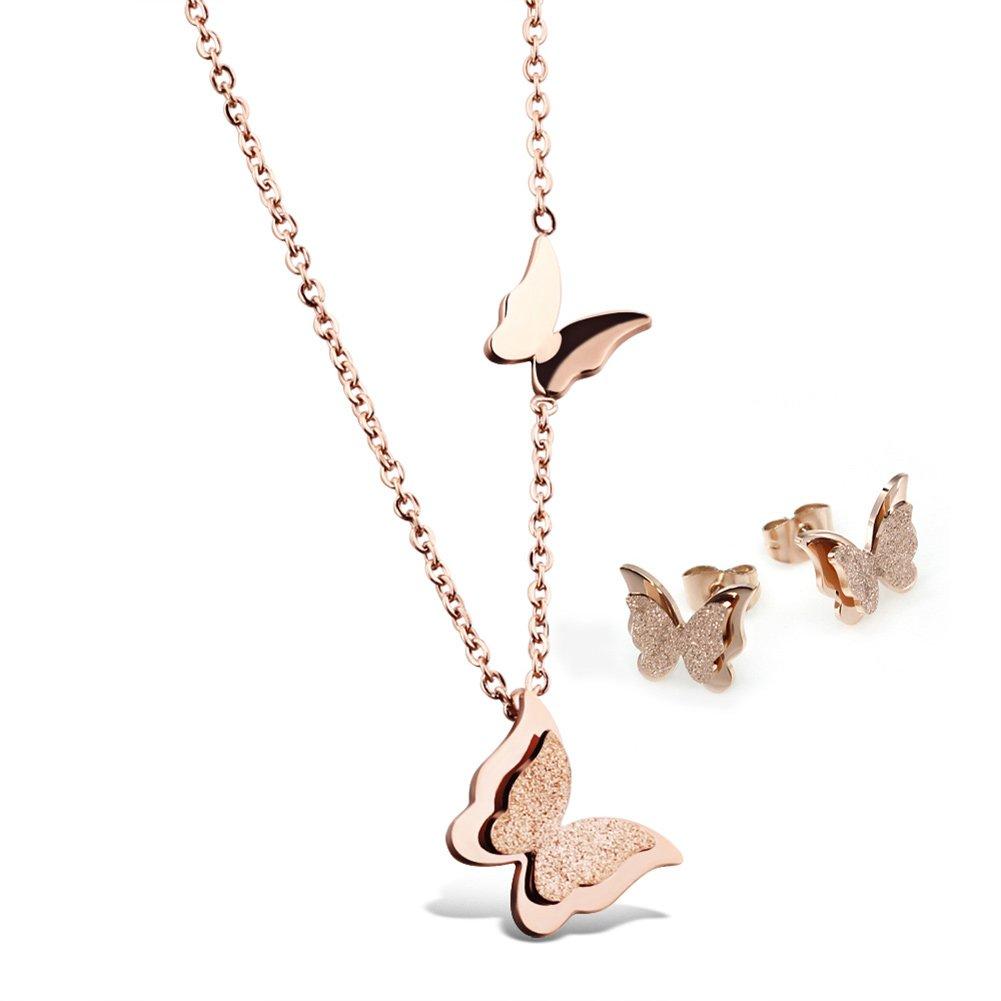 chaussure achat le plus récent comment trouver Jewow Bijoux Acier Inoxydable Papillon Pendentif Parure ...