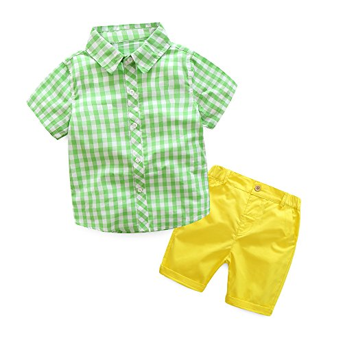 (Xiangwu Textitle Baby Boys Short Sets Short Sleeve Plaid Shirts Tops Shorts Pants Summer Outfits)
