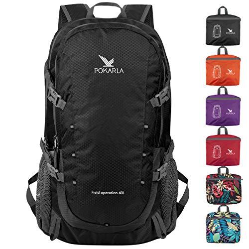 POKARLA 40L Hiking Backpack Lightweight Packable Waterproof Travel Daypack