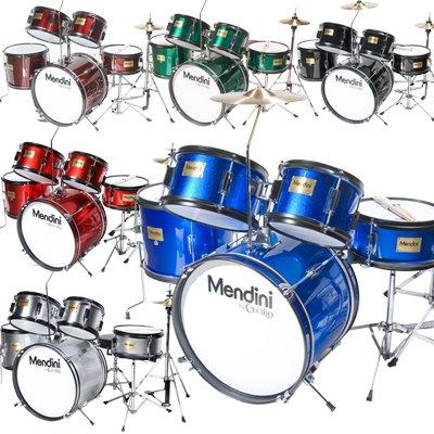 Mendini by Cecilio 5-Piece 16-inch Junior Drum Set + Cymbals, Drumsticks & Adjustable Throne