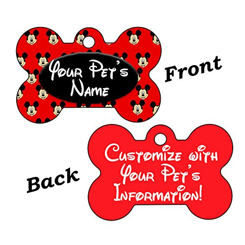 uDesignUSA Disney Mickey Mouse Double Sided Pet Id Dog Tag Personalized with 4 Lines of Text]()