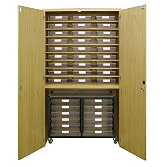 Tote Tray Storage Cabinet with Mobile Tote Tray Cart Bundle (443 ...