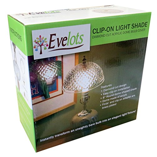 Evelots Antique Clip On Shade, Vintage Diamond Cut Acrylic Dome Light Bulb Fixture by Evelots (Image #4)'