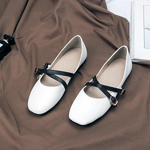 Blanco Zapatos De Cabeza Estudiantes Luz Muelle Abuela Zapatos Salvaje Solo GAOLIM Cuadrada Zapatos Transversales Plano Tiras De Las Femeninos Mujer 5pqxHvXS