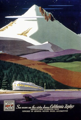 (SEE MORE ON THE VISTA DOME CALIFORNIA ZEPHYR TRAIN TRAVEL LARGE VINTAGE POSTER CANVAS REPRO)