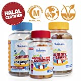 Salaam Nutritionals Halal Family 3 Pack – Children's and Adult Multivitamins, Omega 3 +DHA – Kosher, Gelatin, Gluten, Dairy, Nut Free, Non GMO For Sale