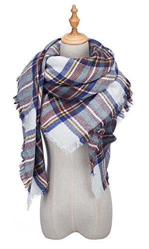 QIXING Womens Tassels Soft Plaid Tartan Scarf Winter Large Blanket Wrap Shawl