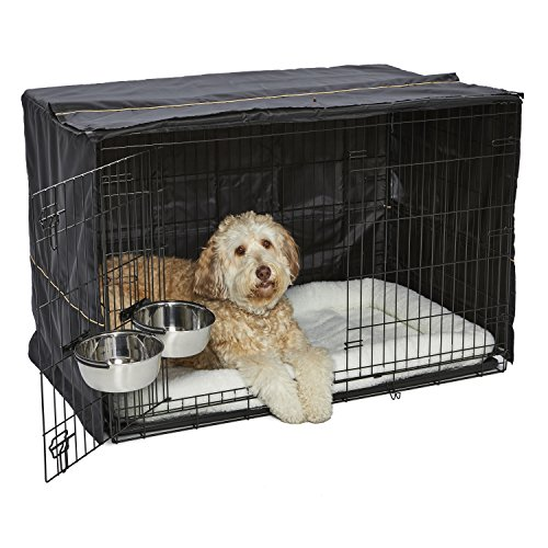 XL Dog Crate Starter Kit | One 2-Door iCrate, Pet Bed, Crate Cover & 2 Pet Bowls | 48-Inch Ideal for XL Dog Breeds