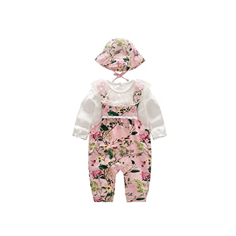 b4942c866 Bebé niña Set Tirador flores y pájaros Patrón Tres piezas Top Corto  Pantalones y Sombrero (