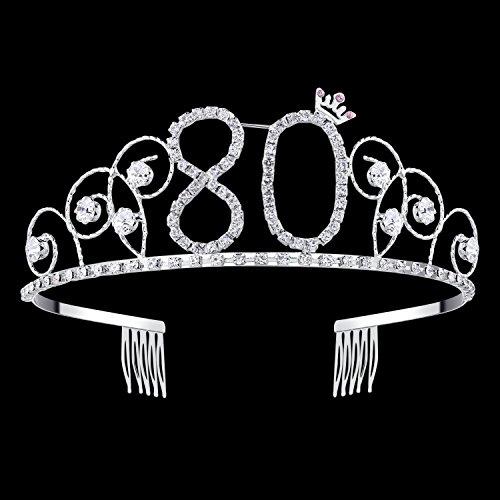 BABEYOND Crystal Tiara Birthday Crown Princess Crown Hair Accessories Silver Rhinestone Diamante Happy 16/18/20/30/40/50/60/70/80/90th Birthday (80 Birth)