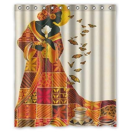 Custom Waterproof Bathroom African Woman Shower Curtain Polyester Fabric Size 60 X 72