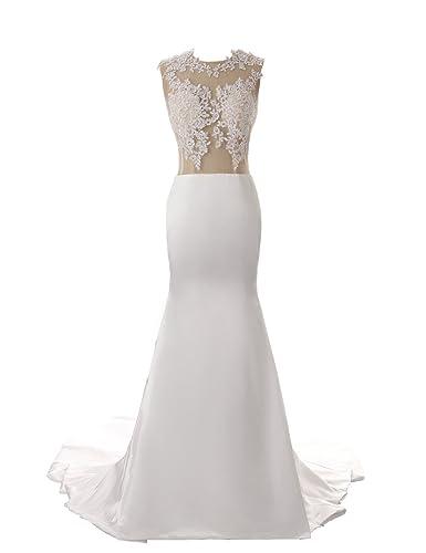Dressystar Lace Satin Mermaid Wedding Dresses with Train Size 2 White