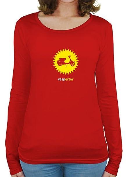 latostadora Camiseta Vespa-vespertar - Camiseta Mujer Manga Larga Rojo Talla L