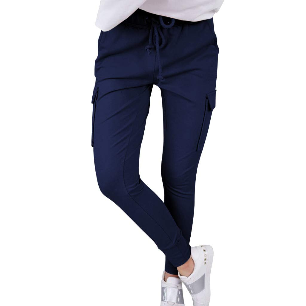 LUXISDE Trousers for Women High Waisted Solid Streetwear Casual Loose Elastic Trousers Pockets Full Pants(Navy,M) by LUXISDE (Image #1)