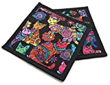 Cotton Pot Holders - Colorful Cats on Black - 8 Inch Square Kitchen Potholders - Set of 2