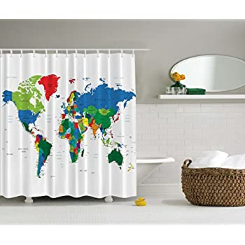 Marvelous World Map Shower Curtain By Ambesonne, Geologist Gifts Educational  Geographical Earth Journeys Voyager Novelty Modern