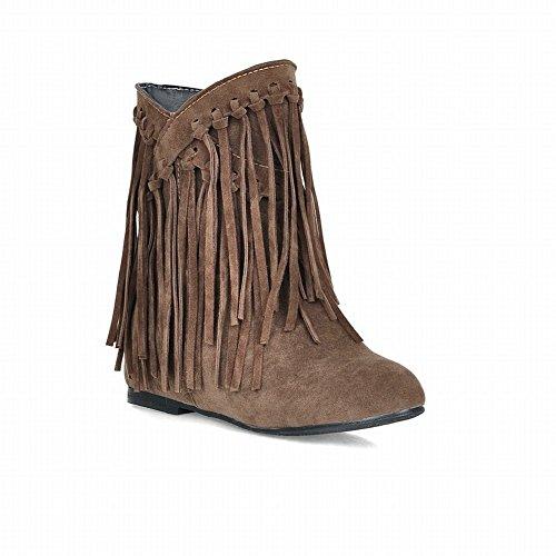 Carolbar Womens Tassels Fashion Elegance Charm Hidden Heel Short Dress Boots Khaki Yellow