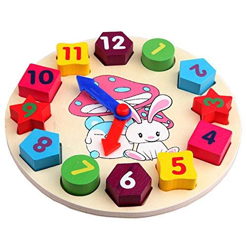 SODIAL(R) Baby Kids Wooden Toys Digital Geometry Clock Educational Toy Blocks Toys 049906