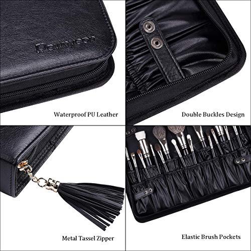 Rownyeon Professional Makeup Brushes Organizer Bag Makeup Artist Cosmetic Case Leather Makeup Handbag Black Travel Portable(Only Bag)