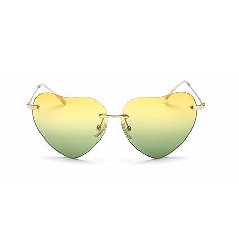 Bobury A forma di cuore, Sfumatura di colore delle lenti senza montatura montatura degli occhiali da sole all'aperto Eyewear Occhiali