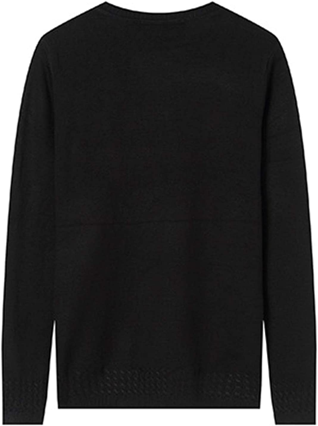 Lentta Mens Casual Solid Color Crew Neck Long Sleeve Pullover Knitted Sweater