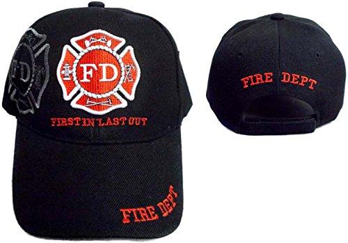(Fire Dept Firefighter Firemen Black Baseball Caps Hats