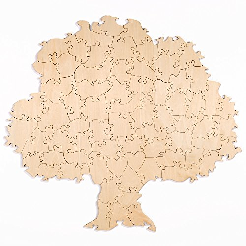70 Piece Blank Tree Shaped Wooden Guest Book Puzzle ()