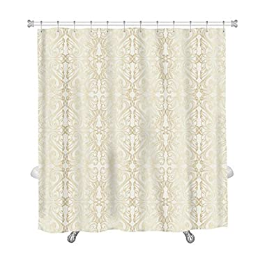 Gear New Shower Curtain, Image Of Luxury White Wallpaper With Gold Floral Pattern, GN7985