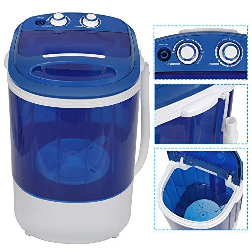 HomGarden 8.8lbs Capacity Mini Washing Machine for Compact Laundry, Portable Single Translucent Tub Washer with Timer Control and Spin Cycle Basket