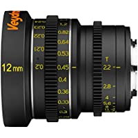 Veydra V1-12T22CMOUNTM Mini Prime 12mm T2.2 C-Mount Metric Cinema Lens with Manual Focus, Black