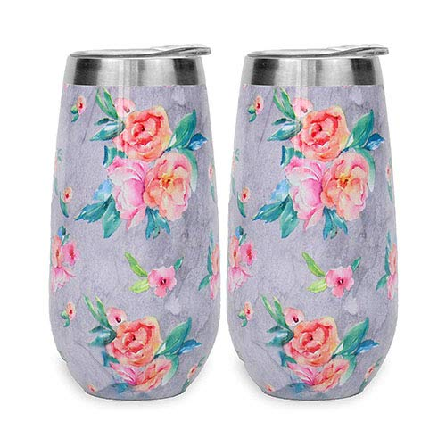 Ice Shaker 2 Pack Insulated Stemless Stainless Steel Champagne Flutes with Lids   Wine Tumbler, 6 OZ Unbreakable Cocktail Cups Reusable Champagne For Toasting & Sipping (Grey Floral)