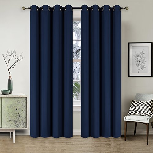 - New York Home Collections Antique Grommet Top Thermal Insulated Blackout Curtain Panels, Room Darkening Drapes (Set of 2 Panels, 52 x 108 Inches, Navy)