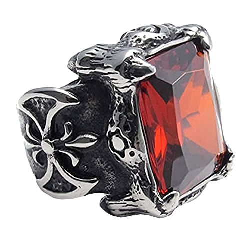 Sirius Men's Large Stainless Steel Glass Ring Silver Black Red Dragon Claw Knight Fleur De Lis Vintage Gothic Size 9