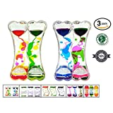 Liquid Timer 3 Pack Sensory Fidget Toy, Multi-Colored Desk Toy by Playlearn (Double Barrel)