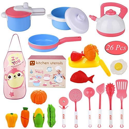 Kitchen Cooking Set, Biulotter 26 Piece Kitchen Cooking Set Girls Boys Fruit Vegetable Tea Playset Toy for Kids Early Age Development Educational Pretend Play Food Assortment Set