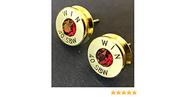 Personalized Birthstone Bullet Bracelet Federal 40 Caliber S/&W Country Girl Gift Side Hook Filigree Ammo Jewelry Stainless Steel