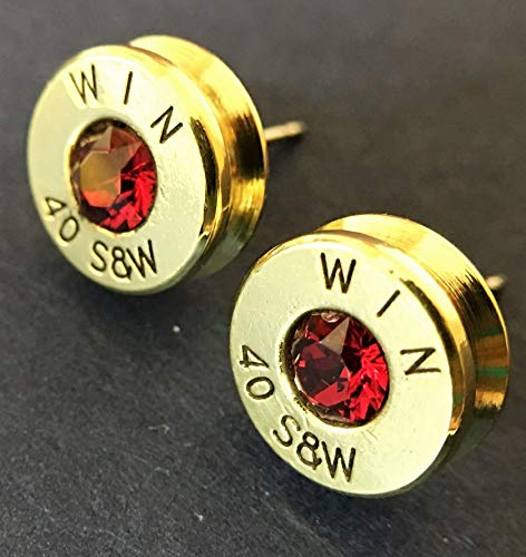 Bullet Casing Ammo Stud Earrings 40 Caliber Authentic Swarovski Ruby Birthstone ()