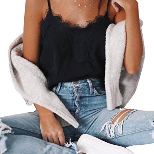 Price comparison product image HOT Sale!Women Tank Tops, Canserin Women's Lace Splice Chiffon Tank Tops Bustier Bra Vest Crop Bralette Shirt Blouse Cami (L,  Black)