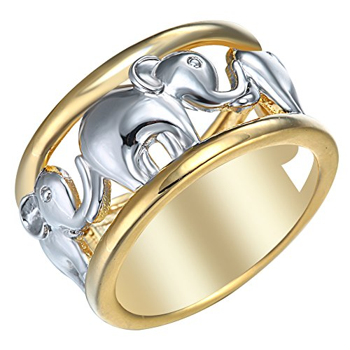 Two Tone Elephant Design - Elephant Ring Two Tone Plated - GLK Collection
