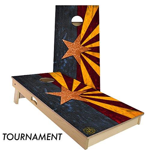 Rustic State Flag 4 by 2 feet Regulation Size Cornhole Boards Sets; 100% USA Made   Slick Woody's Cornhole Company (Full Color Arizona)