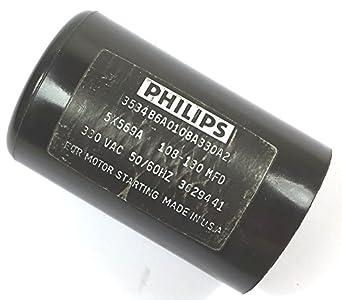 Philips 5x569a 108 130mfd 330v Motor Start Capacitor