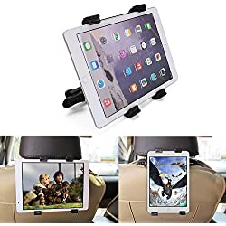 "Car Tablet Mount Holder Bracket BEDEE Universal Headrest Kids Tablet Holder Cradle with 360° Adjustable Rotation for iPad Mini/Air/Pro Samsung Galaxy Kindle Fire 7inch to 11"" Tablets – Black"