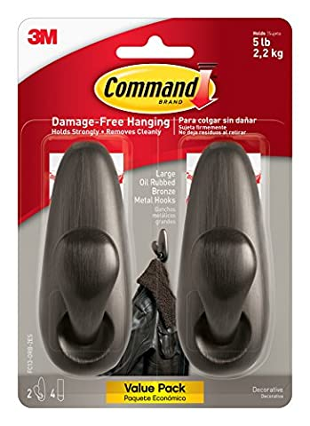 Command Forever Classic Metal Hook, Large, Oil Rubbed Bronze, 2-Hooks (FC13-ORB-2ES) - Oil Rubbed Bronze Wood Screws