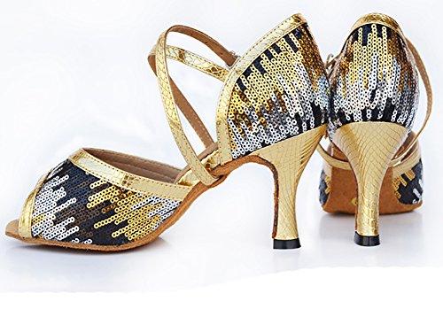 Danza Moderna Donne Scarpe D'oro Latino Paillettes Tacchi Scarpe Sociale Ballo Wymname Da Alti z4SvwTqq