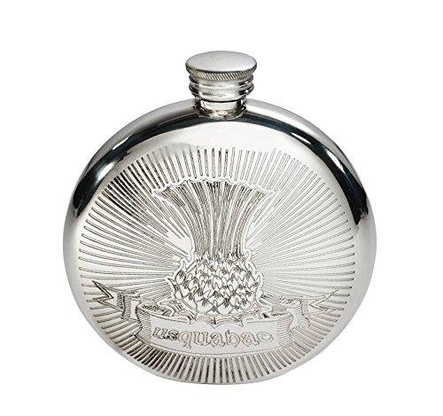 Wentworth Pewter - Usquabae Thistle Round Pewter Flask, Spirit Flask, 6oz Capacity ()