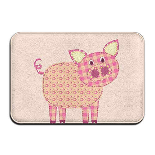 Wyuhmat1 Cute Pig Outdoor Rubber Doormat for Front Door Duty Outside Shoes Scraper Floor Door Mat for Porch Garage High Traffic Non Slip Entrance Rug Low Profile Soccer Ball Carpet -