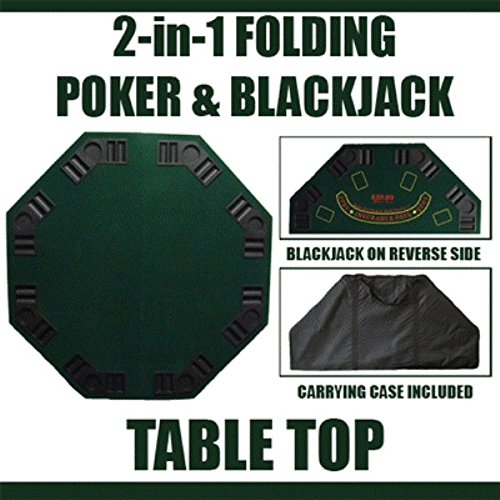 Deluxe Folding Poker and Blackjack Combo Table Top with Case - Inlcudes Bonus Deck of Cards! (GREEN - Cards Chips Ak Poker
