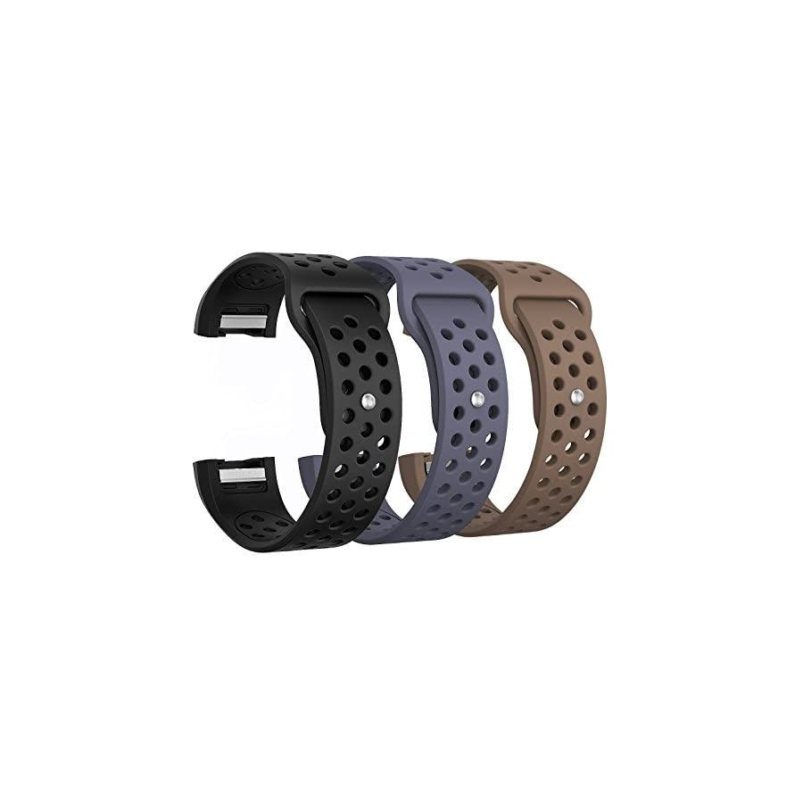 "SWEES Silicone Bands Compatible Fitbit Charge 2, 3 Packs Sport Breathable Replacement Bands Women Men Small & Large (5.7"" 8.3""), Black, Grey, Navy Blue, Pink, White, Teal"