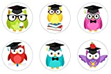 Graduation Owls Edible Cupcake Toppers Decoration